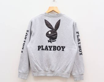 Vintage PLAYBOY Big Rabbit Bunny Logo Big Spell Streetwear Gray Sweater Sweatshirt Size XL