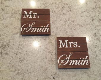 Mr. And Mrs. Wood pallet decor