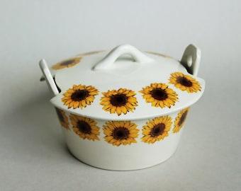 Unique ART DECO - Ditmar Urbach Czech Art Pottery - Sunflowers Images Motive - Cookie Jar Bowl. - Vintage Mid Century Modern Design