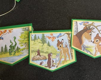 Disney Bambi Bunting Up-cycled from Vintage Little Golden Book - 9 Spearhead Style Flags Double Matted Favorite Storybook Pages no Words