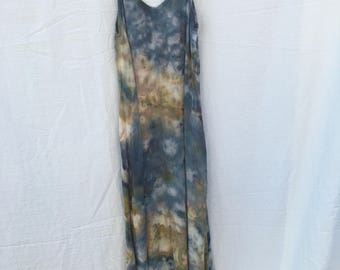 Tie dye maxi dress/ice dye/hand dyed/long dress/flowy dress/spaghetti strap/sleeveless/tank