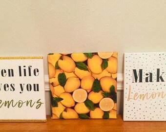 When Life Gives You Lemons... Make Lemonade canvas set