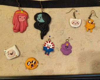 Adventure Time Inspired Polymer Clay Pendant Charm Necklace Earrings Handmade