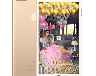 Glitter or Champagne Bottles Birthday SnapChat Filter