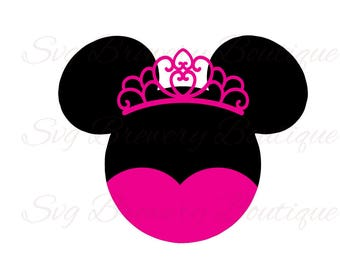 Mouse princess, crown, tiara, SVG (layered), PNG, DXF, for cricut, silhouette studio, cut file, vinyl decal, t shirt design, party theme
