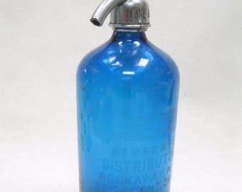Lake Beverage Rockaway NJ Cobalt Blue Etched Seltzer Water Bottle CZECH Glass
