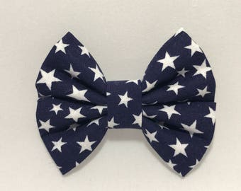 Navy with White Stars - Fabric Barrette Bow