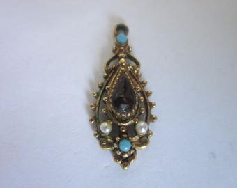Vintage Costume Ruby Turquoise Pearl Rhinestone Fancy Necklace Pendants