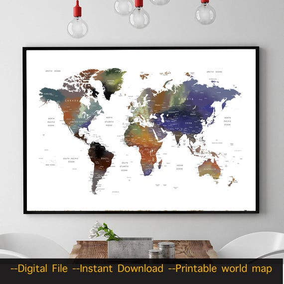 Printable world map digital download instant download push printable world map digital download instant download push pin travel world map wall art detailed large world map download d3 gumiabroncs Image collections