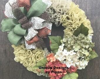 Fall Wreath, Hydrangea Wreath, Front Door Wreath, Autumn Wreath, Country Wreath, Grip Liner Wreath, Farmhouse Wreath, Shelf LIner Wreath,