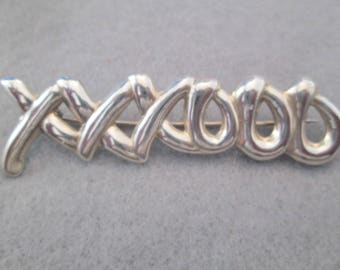 XXXOOO Hugs & Kisses Brooch/Pin>> Solid Sterling Silver>> Vintage 1970's>> New old stock, never worn