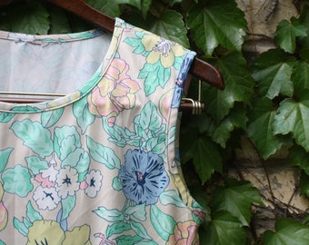 Vintage Muted Pastel Floral Polyester Tank Top Size S-M