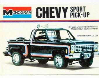 Ultra Rare Vintage Monogram Chevy Sport Pick-Up 4x4 1/24 Scale Model Car 2228