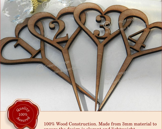 Wedding Table Numbers, Wooden Heart Design, Vintage Rustic Weddings Upto 1-14