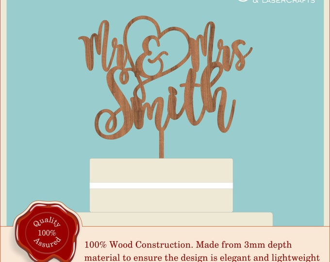 Mr & Mrs Swirly Script Heart - Wooden Personalised Cake Topper. Vintage, Rustic Weddings