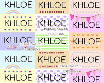 Name Stickers / Pastel Color Labels / Kids Name Labels / Multicolor School ID Name Labels / Waterproof Smear Proof Sticker Labels