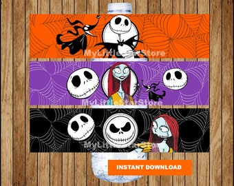 Nightmare Before Christmas bottle labels, Nightmare Before Christmas water bottle labels, Nightmare Before Christmas party Instant download