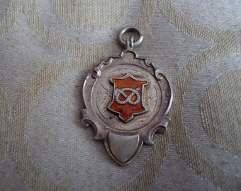 vintage edwardian solid silver watch fob medal 1940s