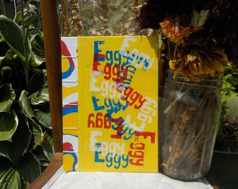 Eggy primary colors sketchbook journal red white blue yellow blockprinted handbound coptic