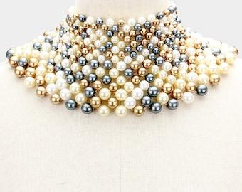 Pearl armor bib choker necklace