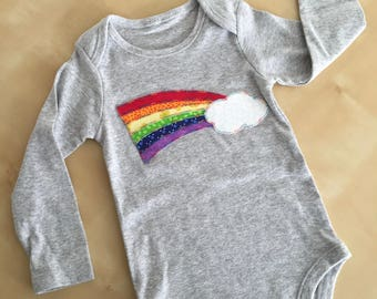 Girls rainbow bodysuit. Baby girl onesie. Rainbow onesie. Rainbow appliqué bodysuit. Girls bodysuit. Girls going home outfit. Shower gift
