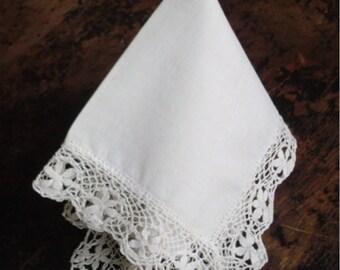 Antique Wedding Handkerchief Vintage Bridal Hankie with Hand Made Lace Border 1920s