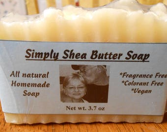 Simply Shea Butter Soap, homemade, no colorants, no fragrance, hard, cleansing, conditioning, vegan, natural soap, hot process