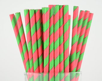 Red and Green Striped Paper Straws - Party Decor Supply - Cake Pop Sticks - Party Favor