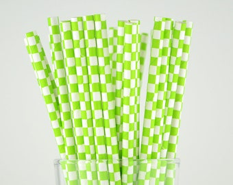 Green Checkered Paper Straws - Party Decor Supply - Cake Pop Sticks - Party Favor
