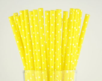 Yellow Dots Paper Straws - Mason Jar Straws - Party Decor Supply - Cake Pop Sticks - Party Favor