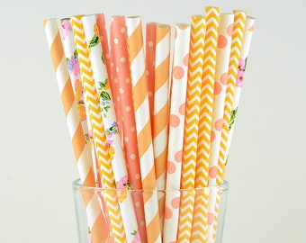 Orange/ Peach Mix Paper Straws - Flower/ Chevron/ Striped/ Polka Dots  - Party Decor Supply - Cake Pop Sticks - Party Favor