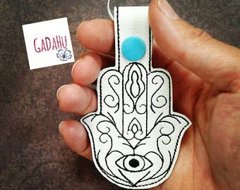 Hamsa Hand/Hand of Fatima Key Fob Snap Tab Embroidery Design 4X4 size