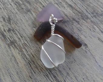 Sea Glass Sterling Silver Pendant, white sea glass, beach glass charm