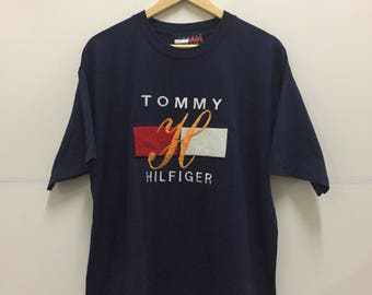 Rare!! Vintage 90's Tommy Hilfiger Embroidered Spellout Big Logo Tee