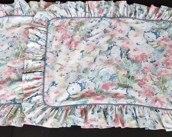 Vintage Croscill Ruffle Pillow Shams PInk Blue White Floral