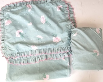 Vintage J C Penny Full Sheet Set 4 Pieces Blue White Pink Ruffle Floral Shabby Chic