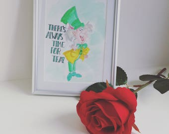Mad hatter watercolour painting a6 // alice in wonderland // tea party