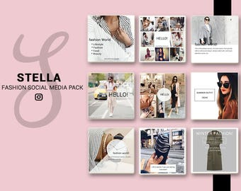 Fashion Social Media Pack, Social Media Bundle, 20 Square Social Media Templates, Instagram Template Pack, Social Media Graphics Pack