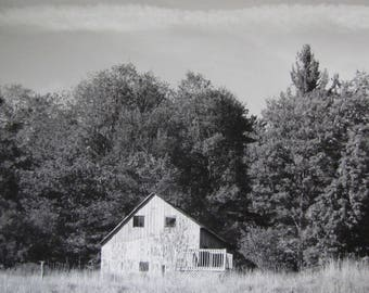 Country Farmhouse Photography with Trees Black & White Photography Old Barn House Photography in Nature Farm Picture Rustic Decor