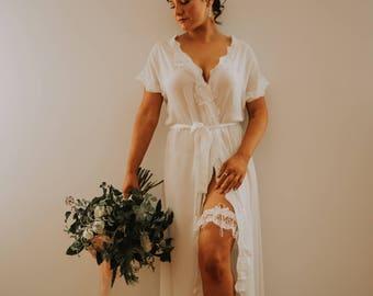Bride Chiffon Long Rossette Bridal Robe