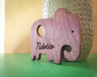 Natural wooden teething toy personalized baby gift moon bear personalized baby gift elephant wooden baby teether baby stocking negle Image collections