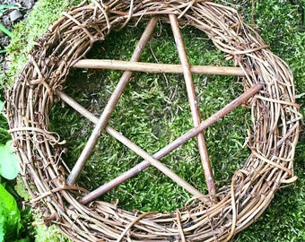 6 inches in diameter.Pentacle Wreath, Hand Crafted from Willow.