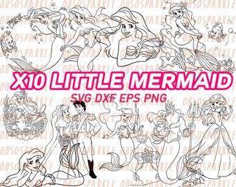 little mermaid svg, ariel svg, clipart, decal, stencils, clip art, silhouette, line art, sizzle, cricut, printable, disney princess