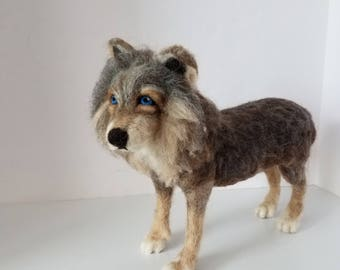 Needle felted Wolf sculpture