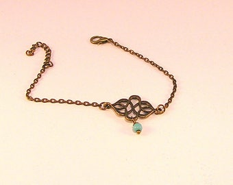 Bronze fine, print and turquoise chain bracelet