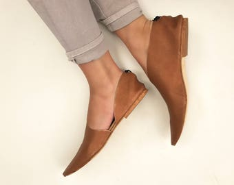 Rilee ~ Modern asymmetrical pointy bronze gold leather ballet flats booties