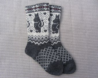 Knit wool socks, wool socks with a pattern, handmade socks,christmas socks, fairisle socks