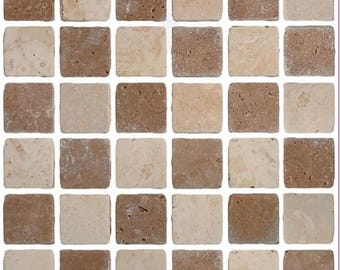 Pack of 10 Brown stone effect mosaic tile stickers transfers, with added gloss affect, just peel and stick, bathroom kitchen