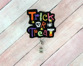 Halloween Badge Reel -Trick Or Treat Badge Pull - Candy Badge Reel - Feltie Badge Reel- Retractable ID Badge Holder - Badge Pull