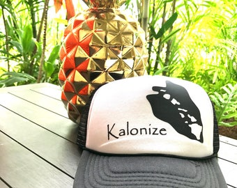 Kalonize Kalo Leaf Hawaiian Islands Trucker Hat